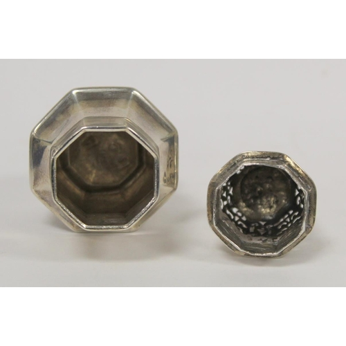 40 - George I caster of octagonal baluster shape by Charles Adam 1716. 5oz....