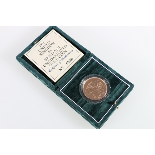 349 - The Royal Mint UNITED KINGDOM Elizabeth II brilliant uncirculated gold five pound £5 coin 1991...