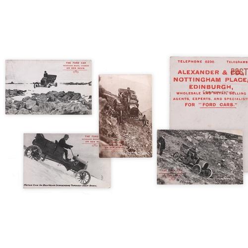 214 - Four postcards showing Henry Alexander Jr descending Ben Nevis in a Ford model T in 1911, the cards ...