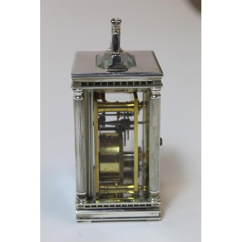 14 - Charles Frodsham reproduction silver carriage timepiece with engine turned mask in Anglaise style ca...