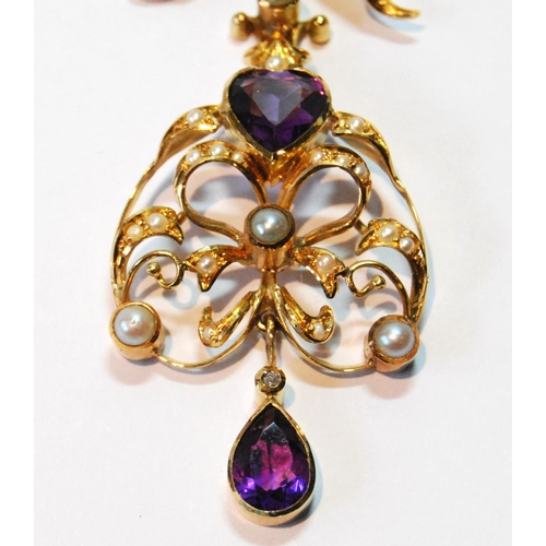 1 - Gold brooch/pendant with amethyst and pearl drop dependant from a pearl-set bow, probably 15ct....