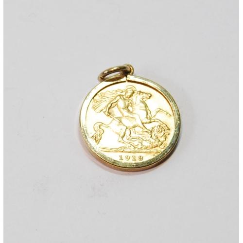 10 - Half sovereign, 1918, detachable 9ct gold pendant mount, 5.2g....