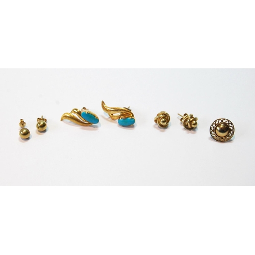 14 - Pair of turquoise earrings of double comma shape and two other pairs, and another, odd, all gold, 7....