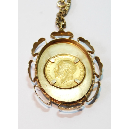 2 - Sovereign, 1931, in gold pendant mount with necklet, gross 26g....