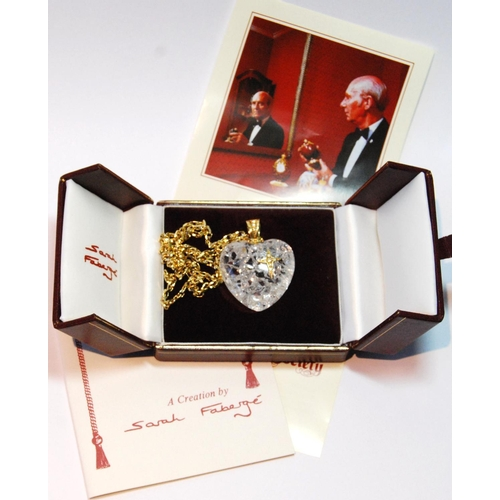 20A - Sarah Fabergé diamond heart pendant with applied diamond-set star and similar 18ct gold loop,...