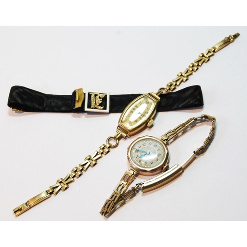 23 - Lady's 9ct gold bracelet watch, another on rolled gold bracelet, and a gold-mounted initial bracelet...