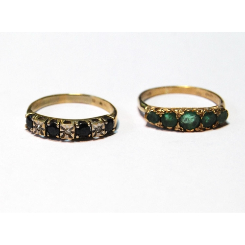 26 - Sapphire and diamond five-stone ring and another, emerald, both 9ct gold, size O and P....