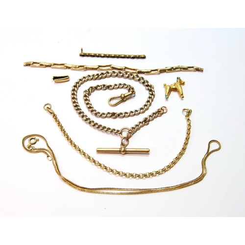 27 - Gold curb watch guard and various other items, some 9ct gold, 35g....