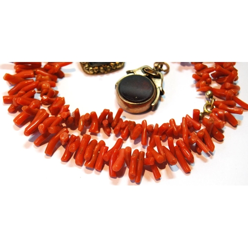 28 - Branch coral necklet, a mourning brooch and a swivel seal in 9ct gold....