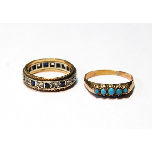 29 - Turquoise five-stone ring and an eternity ring, both 9ct gold, sizes R and P, 6g. (2)...