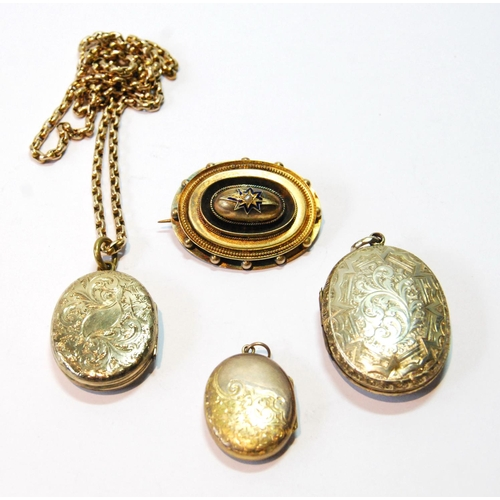 3 - Victorian gold oval boss brooch and three lockets, one with necklet, some part gold....