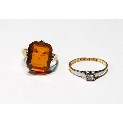 30 - Diamond solitaire ring, '18ct plat', and a citrine ring, in 9ct gold, sizes P and L, 5.2g.  &nb...