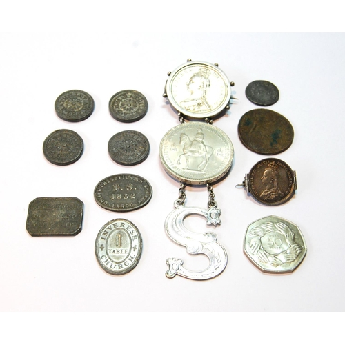 32 - Victorian silver 'S' sherry label, c. 1860, two mounted coin brooches and various other coins, commu...