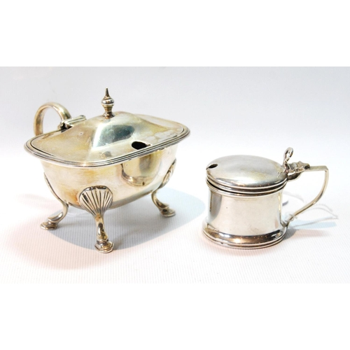 34 - Silver rectangular mustard pot on pad feet, by Mappin & Webb, 1901, and another, smaller, 1928, ...