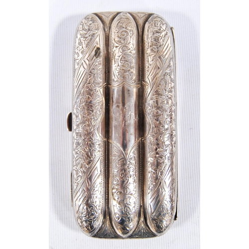 35A - Silver cigar case with all over etched floral decoration, Birmingham 1899, 13cm long and 6cm wide, 4...