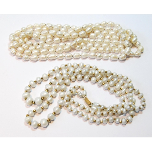 36 - Two-row pearl necklace on gold snap and another, opera length....
