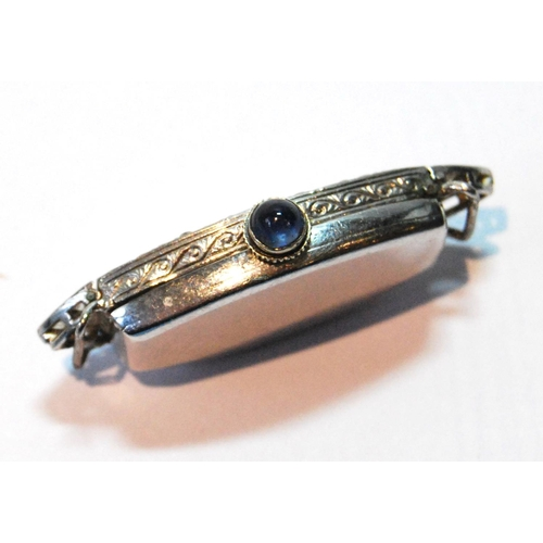 40 - Evening watch of tonneau shape, overcoil spring, 18 jewels, Baume platinum case with diamond-set bez...