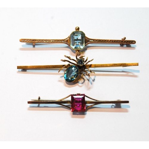 41 - 9ct gold brooch with blue spinel-set spider, Chester 1921, and two others....