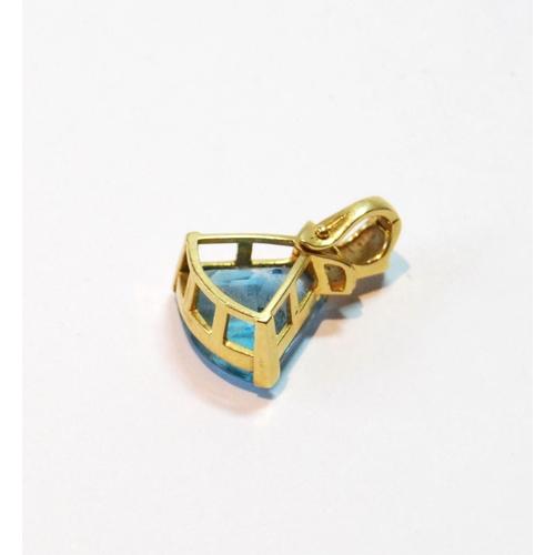 42 - Blue spinel pendant of triangular Art Deco shape, diamond-set, 18k....
