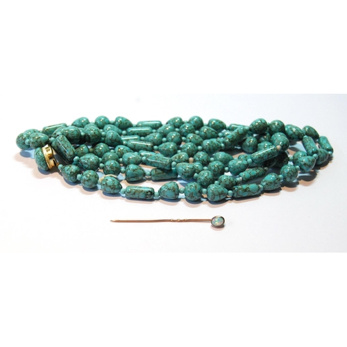 44 - Scarf pin with oval opal and a necklet of turquoise style beads....