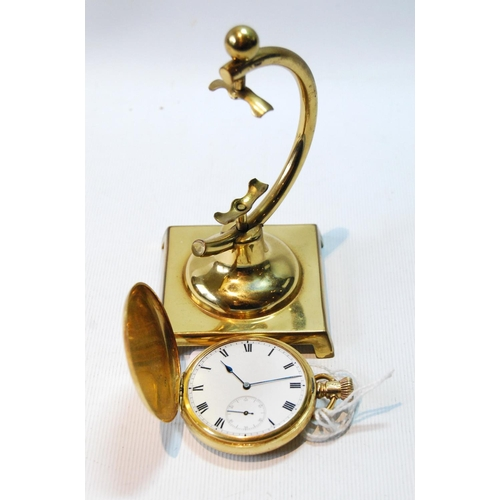 45 - Elgin keyless lever watch in 18ct gold keystone hunter case, 1911, 48mm, with a stand, gross weight ...