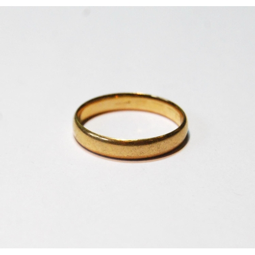 46 - Gold band ring, probably 18ct, 4g, size T....