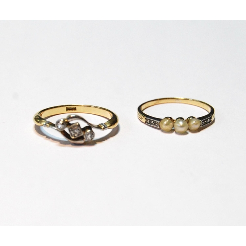 50 - French gold ring with three pearls and diamond-set shoulders and another with three diamonds, sizes ...