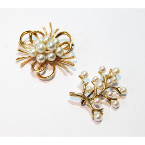 6 - Mikimoto gold looped brooch with nine cultured pearls, signed, '14k', and another of twiggy form, 9c...
