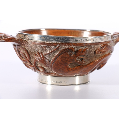 "1 - Ferguson and MacBean of Inverness silver mounted carved oak Scottish quaich ""Lochaber Agricult..."