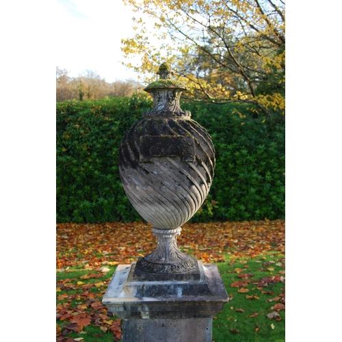 361 - Large composite Regency style lidded garden urn, on plinth base, 160cm high....