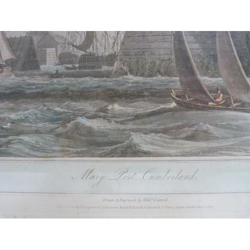 16 - Coloured engraving of Maryport after William Daniel...