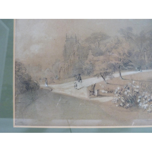 19 - EARLY VICTORIAN SCHOOL.<br />Museum Gardens, York. <br />Pencil on buff paper heightened with white...