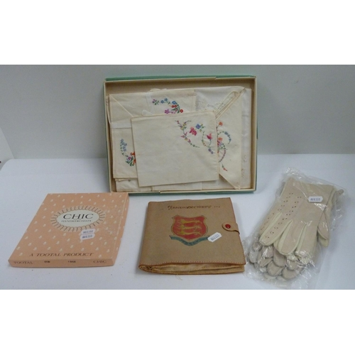 37 - Lady's vintage gloves also boxed linens....