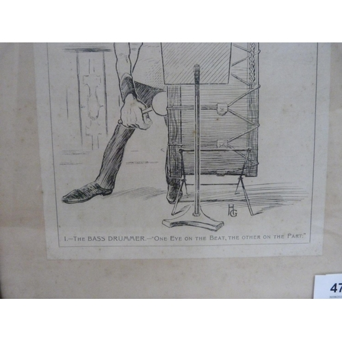 47 - Music interest, framed illustration titled 'Studies in Musicians Expressions' after the original by ...