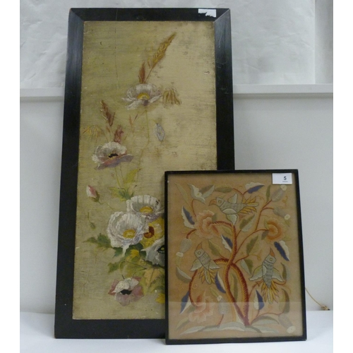 5 - Painted panel of flowers and a framed embroidered panel of birds (2)...