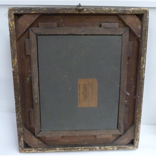 50 - Over-painted print of a Victorian lady in gesso frame....