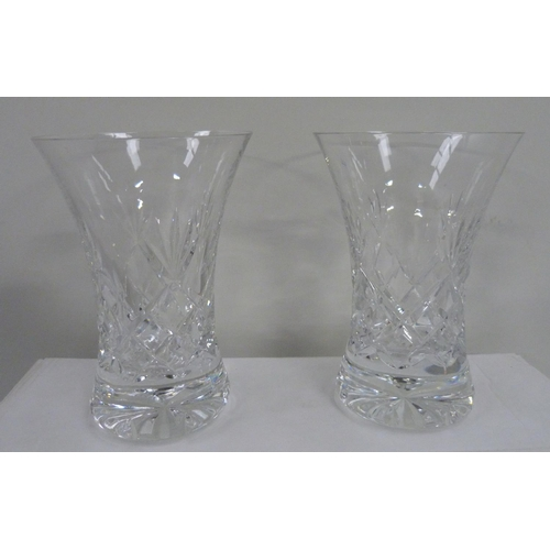 55 - Seven Keswick cut Cumbrian crystal large fluted vases....