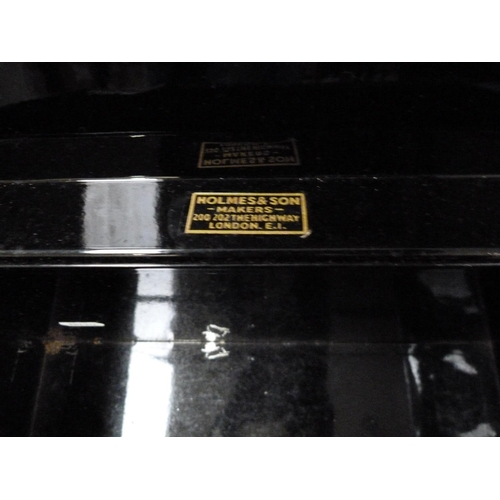 57 - Vintage wooden tool box and black metal lockable Deed box....