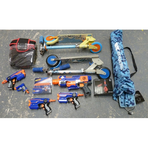 9 - Large box of miscellaneous including Nerf guns, scooters, camping chair etc....