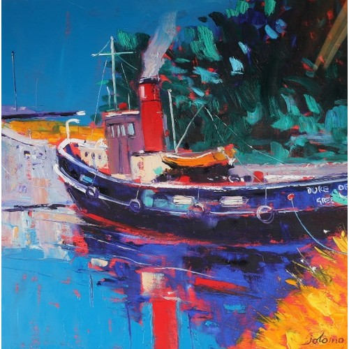 375 - JOHN LOWRIE MORRISON OBE (b.1948)The Duke of Normandy II at Crinan – Steam Up!Oil on canvas, signe...