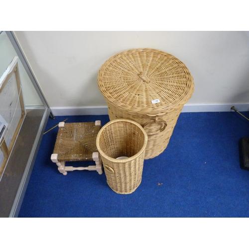 10 - Wicker laundry basket, waste bin and a stool.