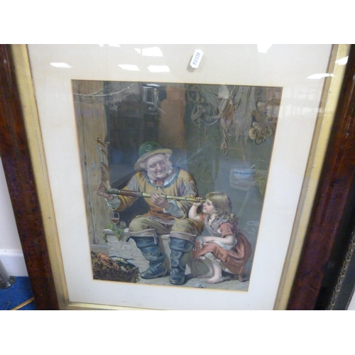 12 - Two large oak framed prints to include 'Safe and Sound' by Arthur J. Elsley