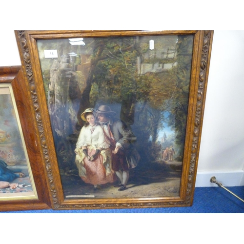 14 - Two large oak framed prints to include 'The Old Old Tale'.