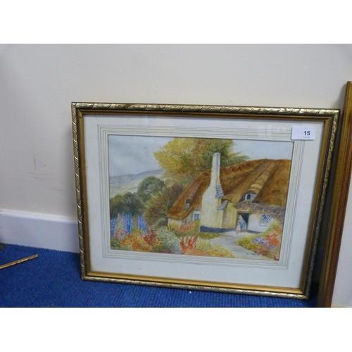 15 - Two landscape watercolours of cottages. (2).