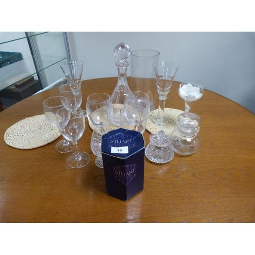 18 - Royal Stuart crystal vase, decanters, goblets etc