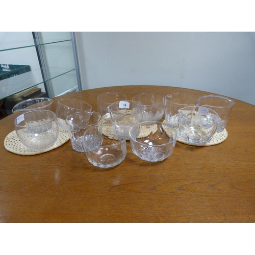 19 - Set of three Georgian clear wine glass coolers and five clear glass finger bowls, plain and with cut...