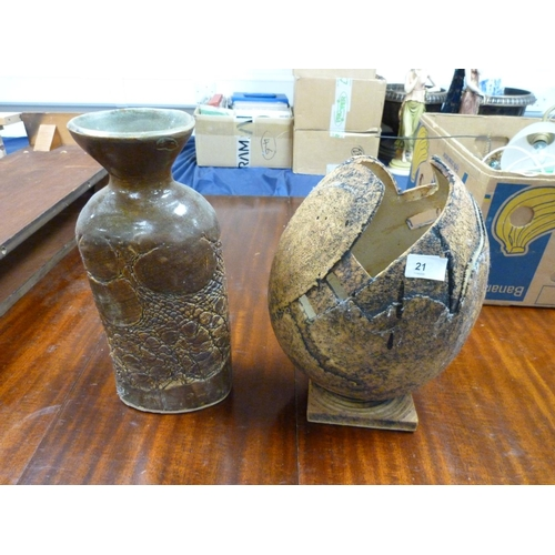 21 - Two large studio pottery vases