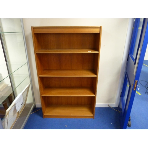 3 - Teak three tier open bookcase.