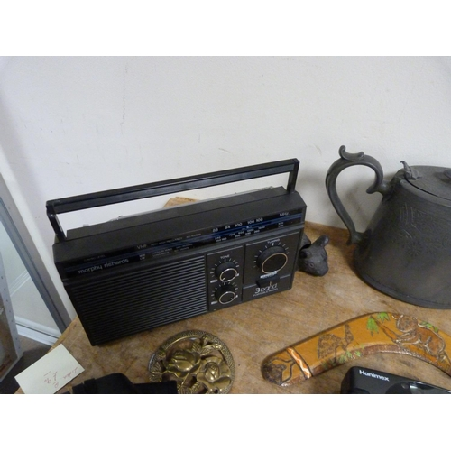 37 - Collection of items to include brass carriage clock, cameras, telescope etc.