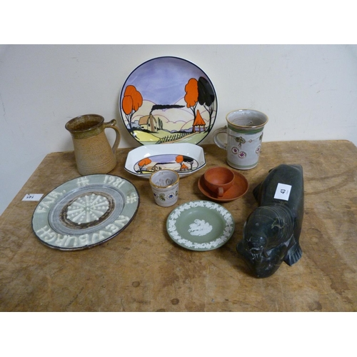 43 - Collection of studio pottery to include Peggy Davies designs, to include stone walrus etc.
